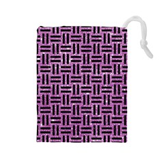 Woven1 Black Marble & Purple Glitter Drawstring Pouches (large)  by trendistuff