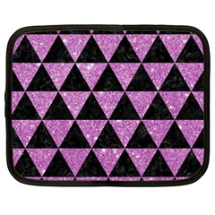 Triangle3 Black Marble & Purple Glitter Netbook Case (xxl)  by trendistuff