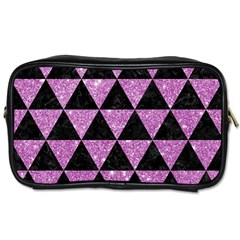 Triangle3 Black Marble & Purple Glitter Toiletries Bags by trendistuff