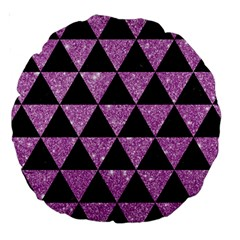 Triangle3 Black Marble & Purple Glitter Large 18  Premium Round Cushions by trendistuff