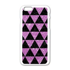 Triangle3 Black Marble & Purple Glitter Apple Iphone 6/6s White Enamel Case by trendistuff