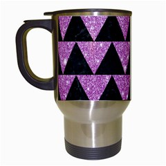 Triangle2 Black Marble & Purple Glitter Travel Mugs (white) by trendistuff