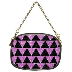 Triangle2 Black Marble & Purple Glitter Chain Purses (one Side)  by trendistuff