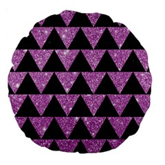Triangle2 Black Marble & Purple Glitter Large 18  Premium Round Cushions by trendistuff