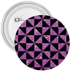 Triangle1 Black Marble & Purple Glitter 3  Buttons by trendistuff