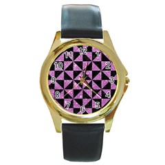 Triangle1 Black Marble & Purple Glitter Round Gold Metal Watch by trendistuff