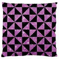 Triangle1 Black Marble & Purple Glitter Large Cushion Case (two Sides) by trendistuff