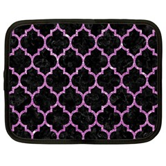 Tile1 Black Marble & Purple Glitter (r) Netbook Case (large) by trendistuff