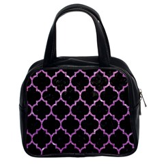 Tile1 Black Marble & Purple Glitter (r) Classic Handbags (2 Sides) by trendistuff