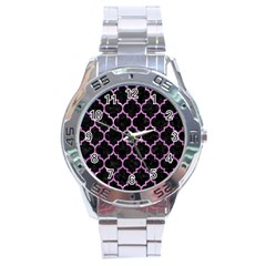 Tile1 Black Marble & Purple Glitter (r) Stainless Steel Analogue Watch by trendistuff