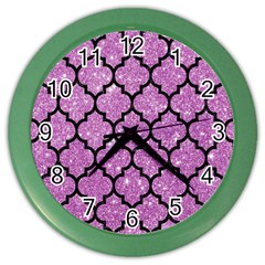 Tile1 Black Marble & Purple Glitter Color Wall Clocks