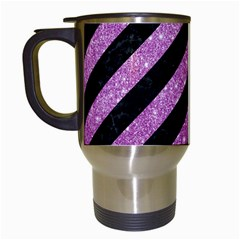 Stripes3 Black Marble & Purple Glitter (r) Travel Mugs (white) by trendistuff