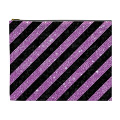 Stripes3 Black Marble & Purple Glitter (r) Cosmetic Bag (xl) by trendistuff