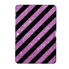 Stripes3 Black Marble & Purple Glitter (r) Samsung Galaxy Tab 2 (10 1 ) P5100 Hardshell Case  by trendistuff