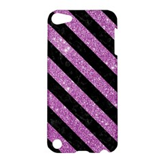 Stripes3 Black Marble & Purple Glitter Apple Ipod Touch 5 Hardshell Case by trendistuff