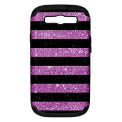 Stripes2black Marble & Purple Glitter Samsung Galaxy S Iii Hardshell Case (pc+silicone) by trendistuff
