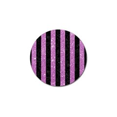 Stripes1 Black Marble & Purple Glitter Golf Ball Marker by trendistuff
