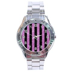 Stripes1 Black Marble & Purple Glitter Stainless Steel Analogue Watch by trendistuff