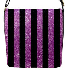 Stripes1 Black Marble & Purple Glitter Flap Messenger Bag (s) by trendistuff