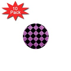 Square2 Black Marble & Purple Glitter 1  Mini Magnet (10 Pack)