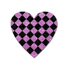 Square2 Black Marble & Purple Glitter Heart Magnet by trendistuff