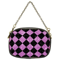 Square2 Black Marble & Purple Glitter Chain Purses (two Sides)  by trendistuff
