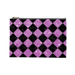 Square2 Black Marble & Purple Glitter Cosmetic Bag (large)  by trendistuff