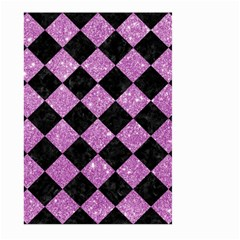Square2 Black Marble & Purple Glitter Large Garden Flag (two Sides)