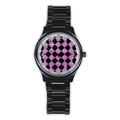 Square2 Black Marble & Purple Glitter Stainless Steel Round Watch by trendistuff