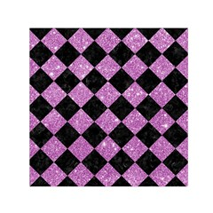 Square2 Black Marble & Purple Glitter Small Satin Scarf (square) by trendistuff