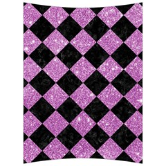 Square2 Black Marble & Purple Glitter Back Support Cushion by trendistuff