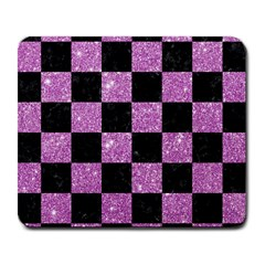 Square1 Black Marble & Purple Glitter Large Mousepads by trendistuff