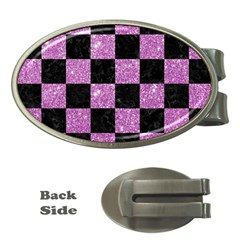Square1 Black Marble & Purple Glitter Money Clips (oval)  by trendistuff