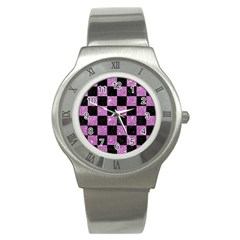 Square1 Black Marble & Purple Glitter Stainless Steel Watch by trendistuff