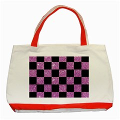 Square1 Black Marble & Purple Glitter Classic Tote Bag (red) by trendistuff