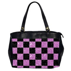 Square1 Black Marble & Purple Glitter Office Handbags (2 Sides)  by trendistuff