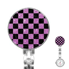 Square1 Black Marble & Purple Glitter Stainless Steel Nurses Watch by trendistuff