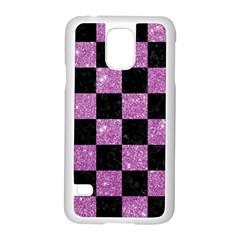 Square1 Black Marble & Purple Glitter Samsung Galaxy S5 Case (white) by trendistuff