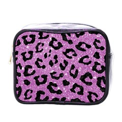 Skin5 Black Marble & Purple Glitter (r) Mini Toiletries Bags by trendistuff