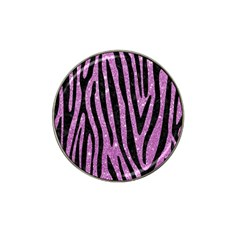 Skin4 Black Marble & Purple Glitter (r) Hat Clip Ball Marker (10 Pack)