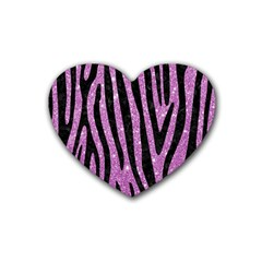 Skin4 Black Marble & Purple Glitter (r) Rubber Coaster (heart)  by trendistuff