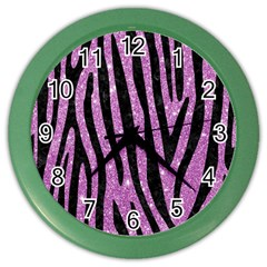 Skin4 Black Marble & Purple Glitter (r) Color Wall Clocks
