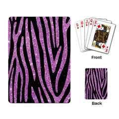 Skin4 Black Marble & Purple Glitter Playing Card by trendistuff