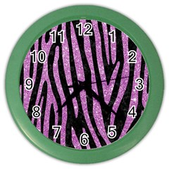 Skin4 Black Marble & Purple Glitter Color Wall Clocks by trendistuff