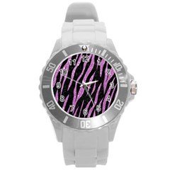 Skin3 Black Marble & Purple Glitter (r) Round Plastic Sport Watch (l) by trendistuff