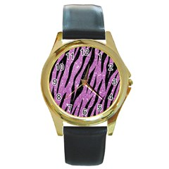 Skin3 Black Marble & Purple Glitter Round Gold Metal Watch by trendistuff