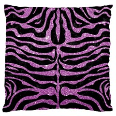 Skin2 Black Marble & Purple Glitter (r) Large Flano Cushion Case (one Side) by trendistuff