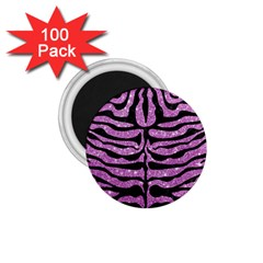 Skin2 Black Marble & Purple Glitter 1 75  Magnets (100 Pack)  by trendistuff