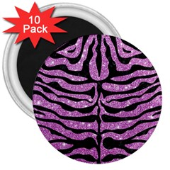 Skin2 Black Marble & Purple Glitter 3  Magnets (10 Pack)  by trendistuff