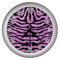 Skin2 Black Marble & Purple Glitter Wall Clocks (silver)  by trendistuff